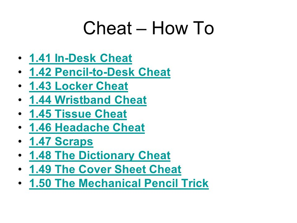Cheat – How To 1.31 Note-Belt Cheat1.31 Note-Belt Cheat 1.32 Water Bottle Cheat1.32 Water Bottle Cheat 1.33 Trash Can Cheat1.33 Trash Can Cheat 1.34 S