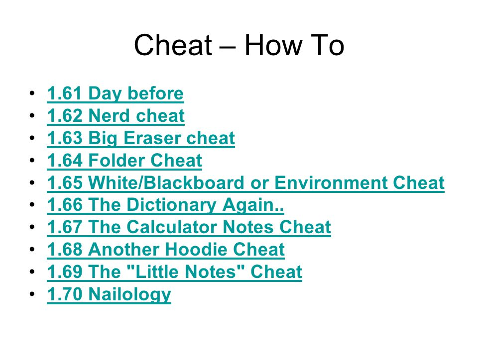 Cheat – How To 1.51 Scratch Paper Trick1.51 Scratch Paper Trick 1.52 Small notes Trick1.52 Small notes Trick 1.53 Another MP3 Method...1.53 Another MP