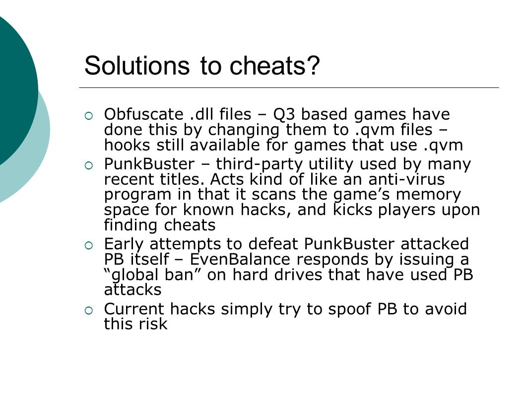 Solutions to cheats.