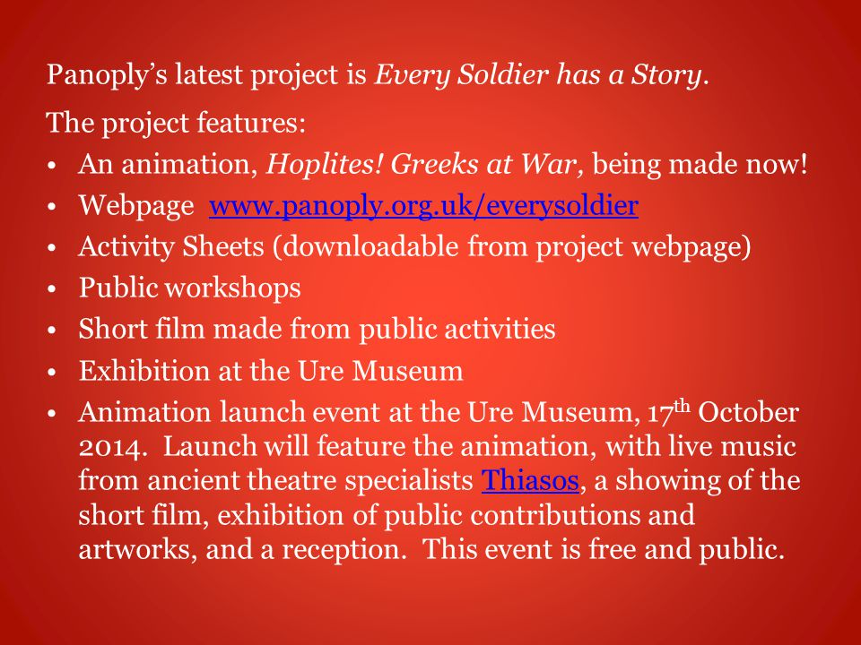 Panoply's latest project is Every Soldier has a Story.