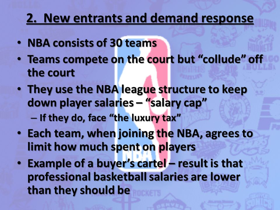 "2. New entrants and demand response NBA consists of 30 teams NBA consists of 30 teams Teams compete on the court but ""collude"" off the court Teams com"