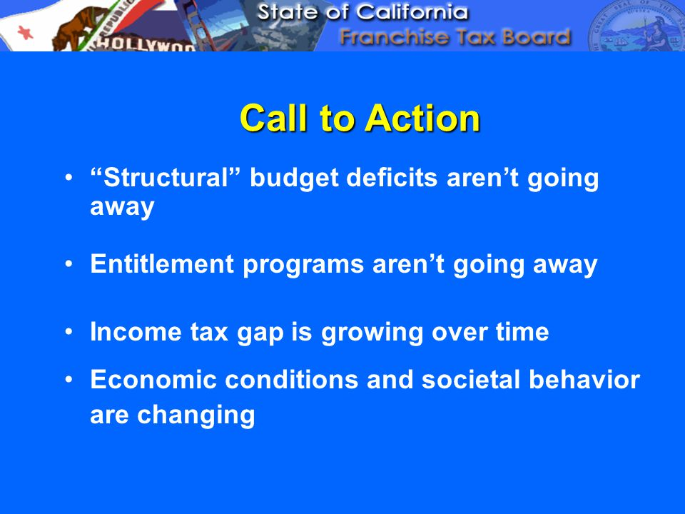 Call to Action Structural budget deficits aren't going away Entitlement programs aren't going away Income tax gap is growing over time Economic conditions and societal behavior are changing