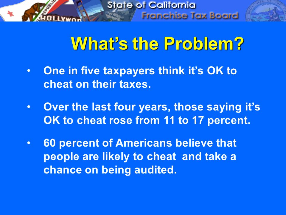 What's the Problem. One in five taxpayers think it's OK to cheat on their taxes.
