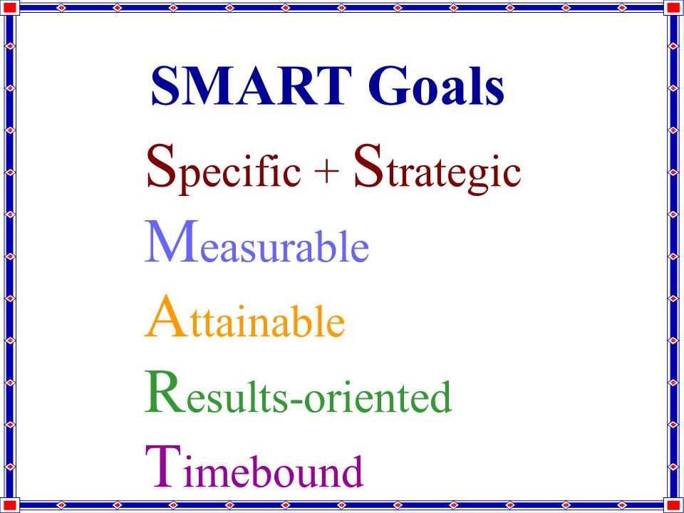 SMART Goals S pecific + S trategic M easurable A ttainable R esults-oriented T imebound