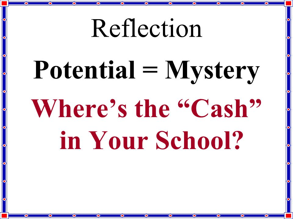 Reflection Potential = Mystery Where's the Cash in Your School