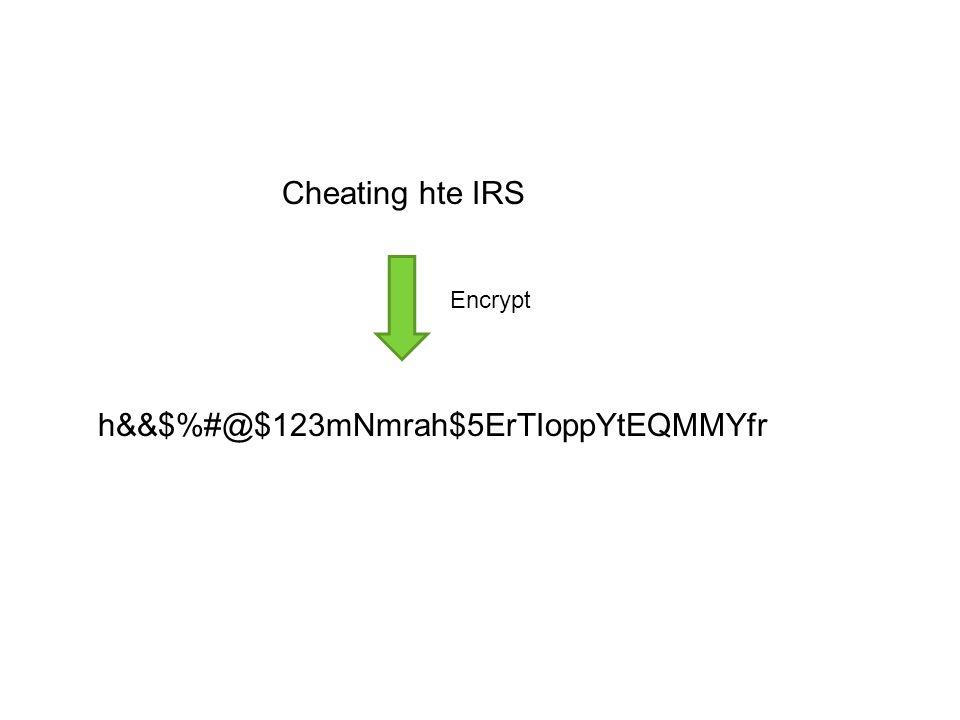 h&&$%#@$123mNmrah$5ErTIoppYtEQMMYfr Cheating hte IRS Encrypt