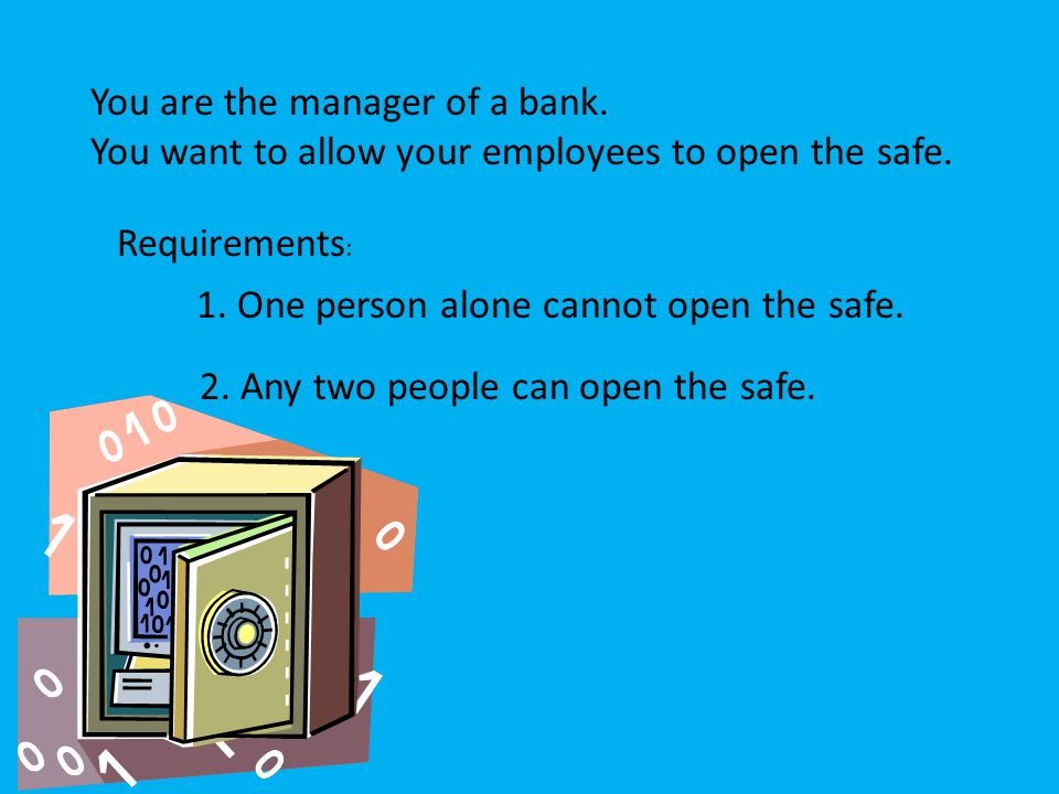 You are the manager of a bank. You want to allow your employees to open the safe.