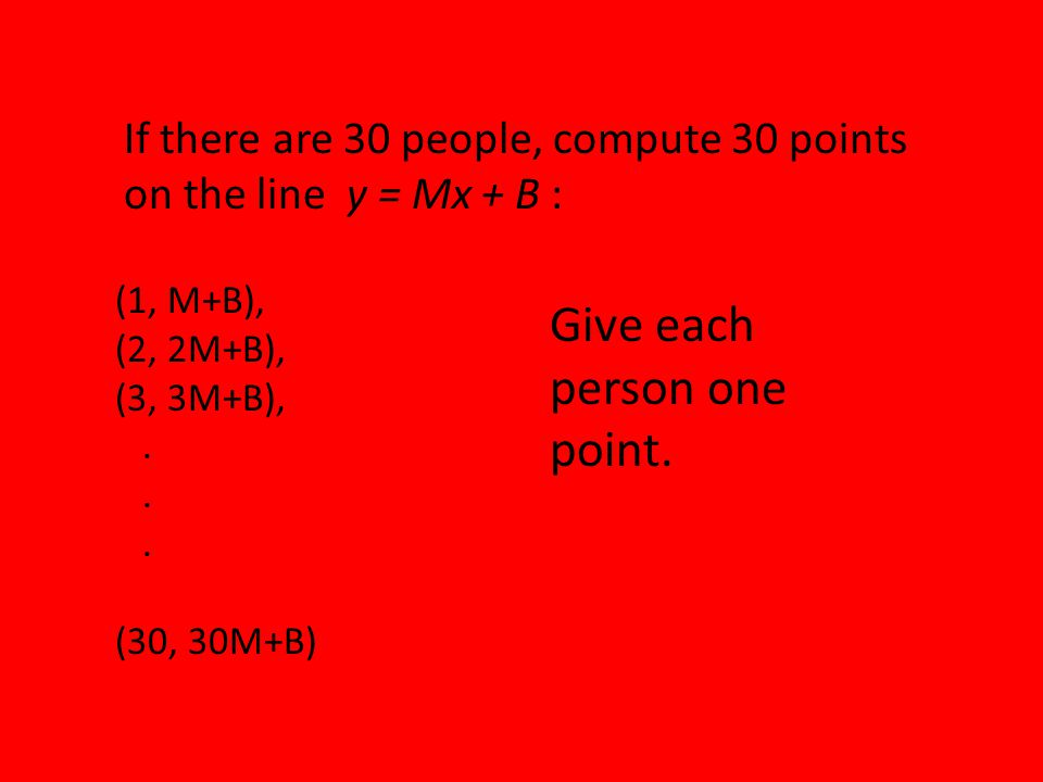 If there are 30 people, compute 30 points on the line y = Mx + B : (1, M+B), (2, 2M+B), (3, 3M+B),.