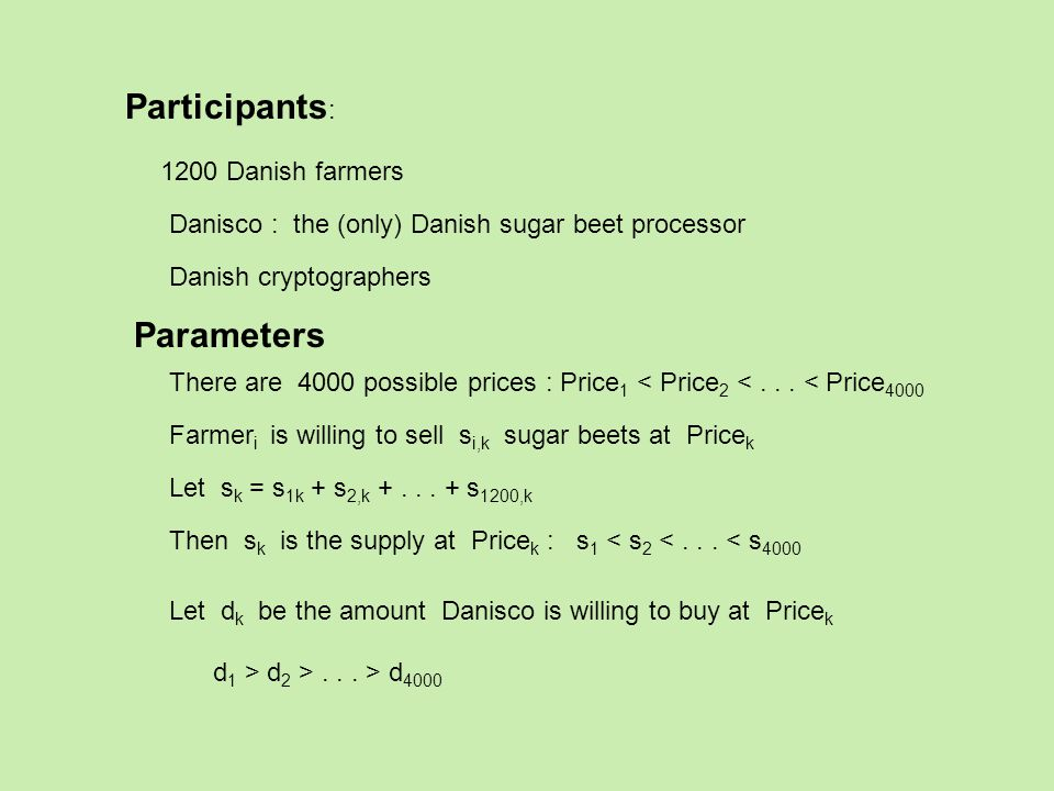 Participants : 1200 Danish farmers Danisco : the (only) Danish sugar beet processor Danish cryptographers Farmer i is willing to sell s i,k sugar beets at Price k There are 4000 possible prices : Price 1 < Price 2 <...