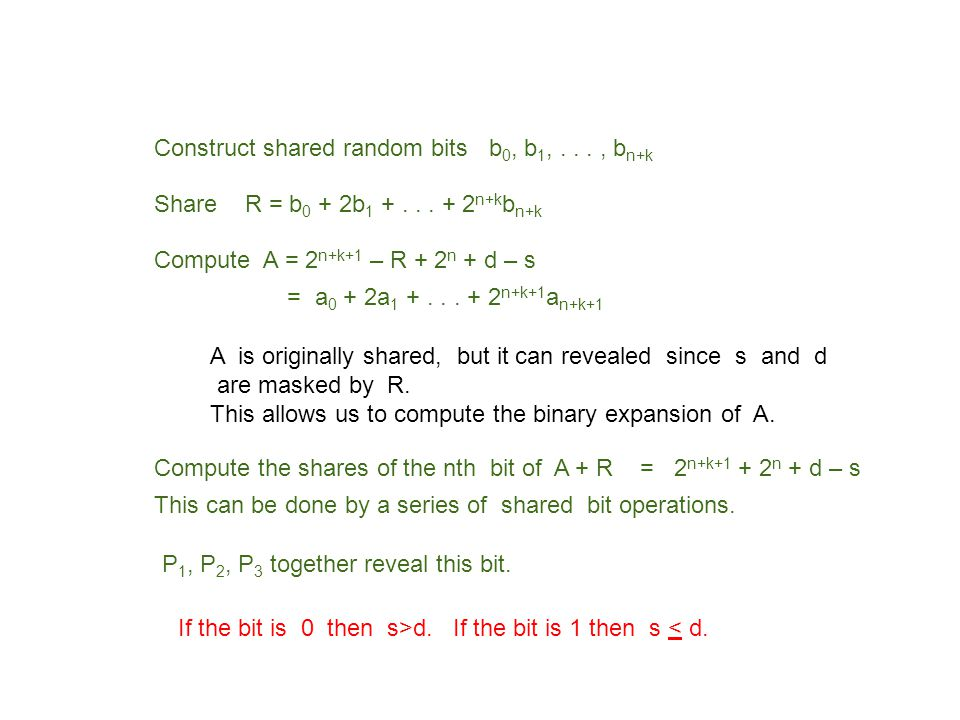 Construct shared random bits b 0, b 1,..., b n+k Share R = b 0 + 2b 1 +... + 2 n+k b n+k Compute A = 2 n+k+1 – R + 2 n + d – s = a 0 + 2a 1 +... + 2 n