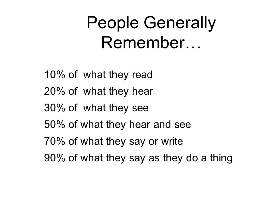 People Generally Remember… 10% of what they read 20% of what they hear 30% of what they see 50% of what they hear and see 70% of what they say or write 90% of what they say as they do a thing