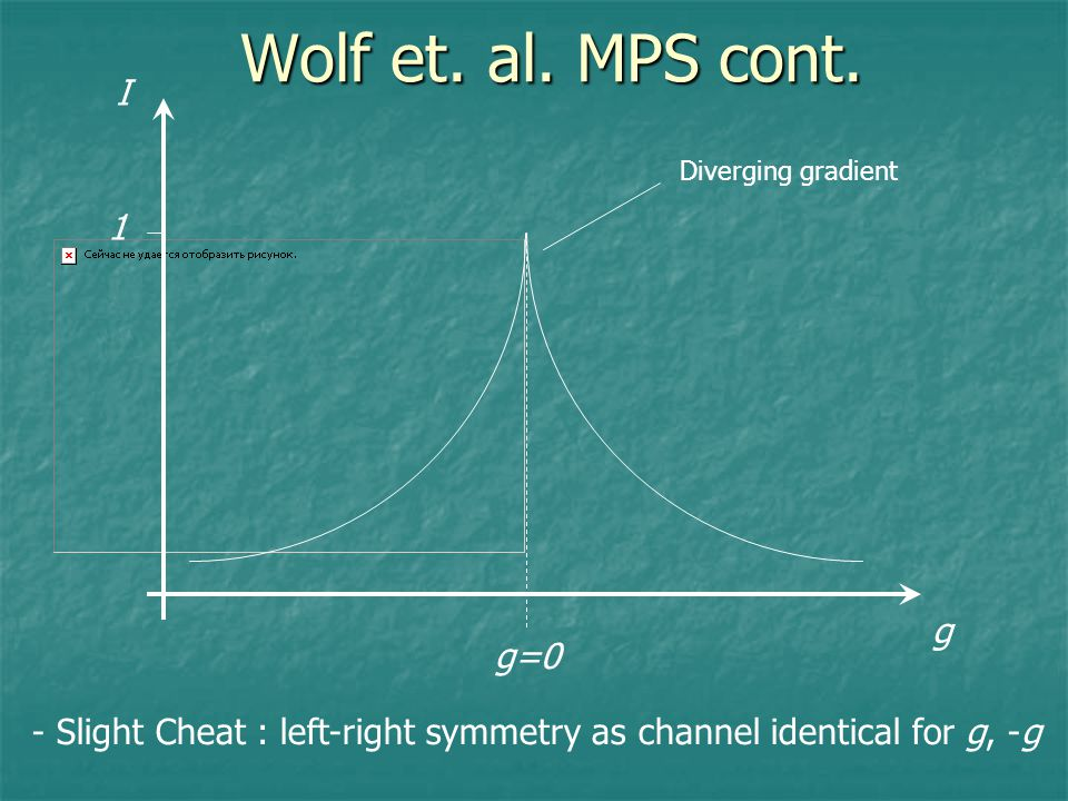 Wolf et. al. MPS cont. g g=0 1 I Diverging gradient - Slight Cheat : left-right symmetry as channel identical for g, -g