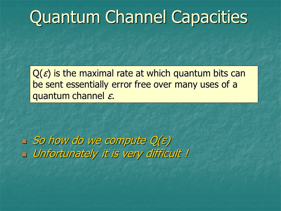 Quantum Channel Capacities Q(ε) is the maximal rate at which quantum bits can be sent essentially error free over many uses of a quantum channel ε.