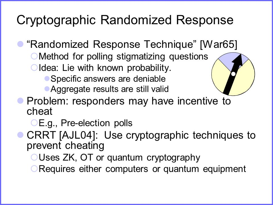 Cryptographic Randomized Response Randomized Response Technique [War65]  Method for polling stigmatizing questions  Idea: Lie with known probability.