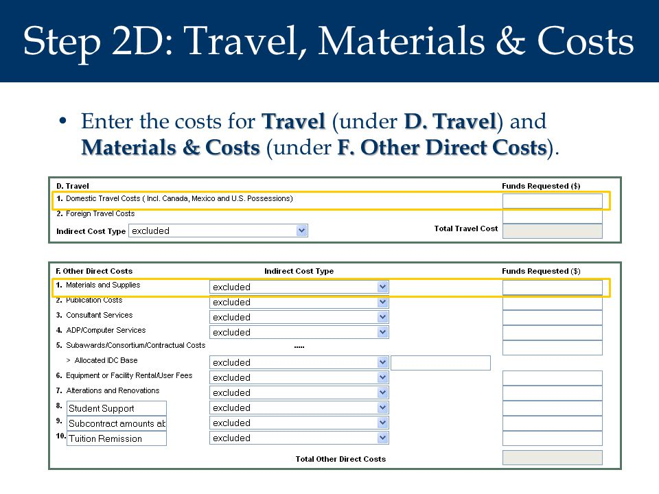 Step 2D: Travel, Materials & Costs Travel D. Travel Materials & CostsF. Other Direct CostsEnter the costs for Travel (under D. Travel ) and Materials