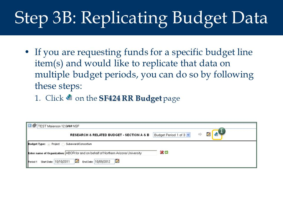 Step 3B: Replicating Budget Data If you are requesting funds for a specific budget line item(s) and would like to replicate that data on multiple budget periods, you can do so by following these steps: SF424 RR Budget 1.Click on the SF424 RR Budget page 1 1