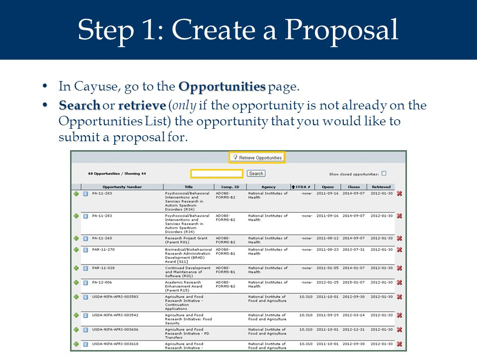 Step 1: Create a Proposal OpportunitiesIn Cayuse, go to the Opportunities page.