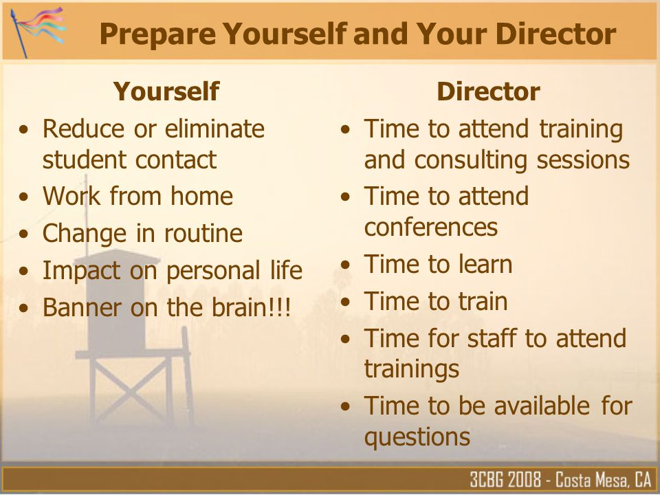 Prepare Yourself and Your Director Yourself Reduce or eliminate student contact Work from home Change in routine Impact on personal life Banner on the