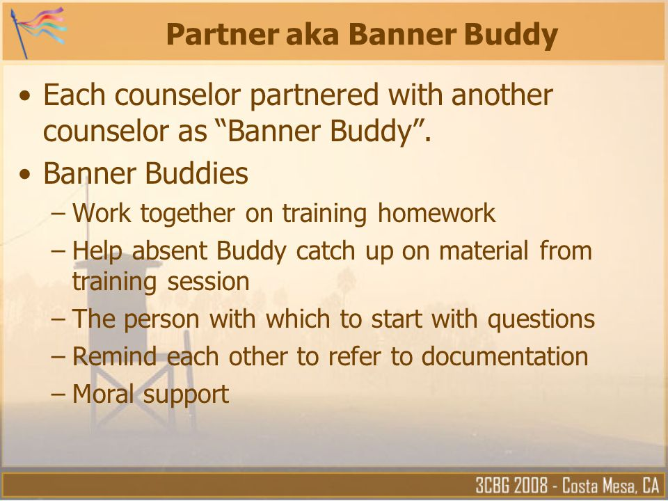 Partner aka Banner Buddy Each counselor partnered with another counselor as Banner Buddy .