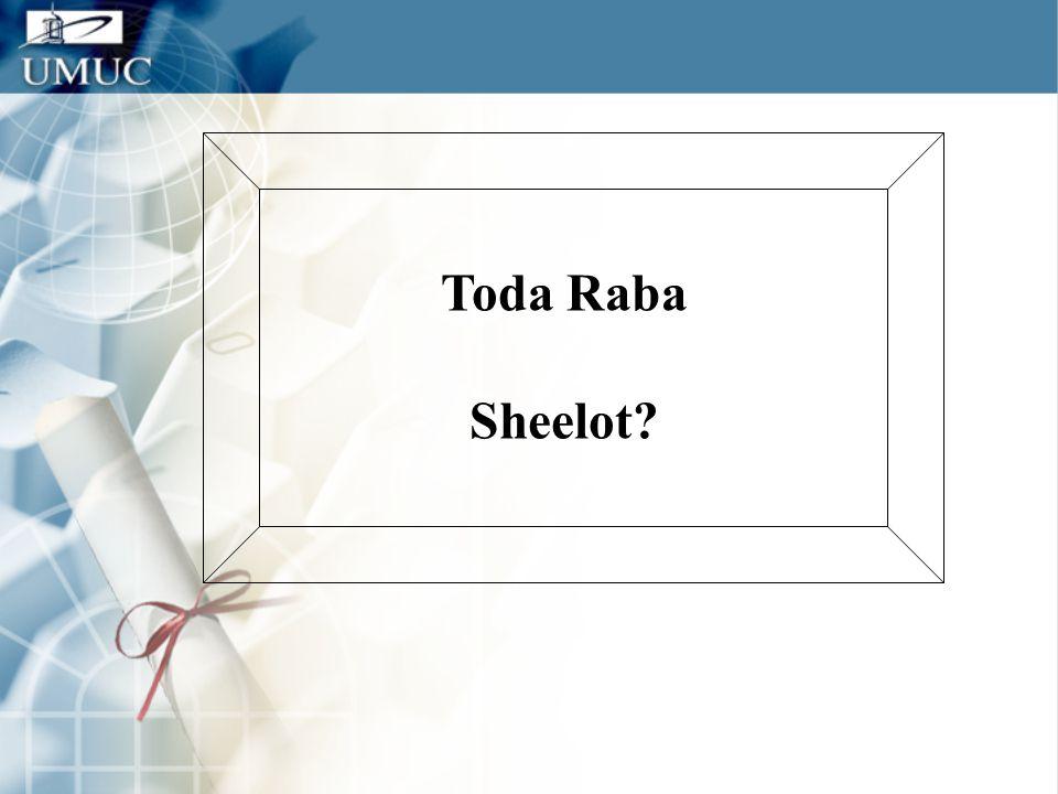Toda Raba Sheelot