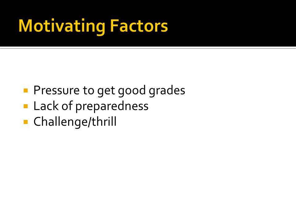  Pressure to get good grades  Lack of preparedness  Challenge/thrill