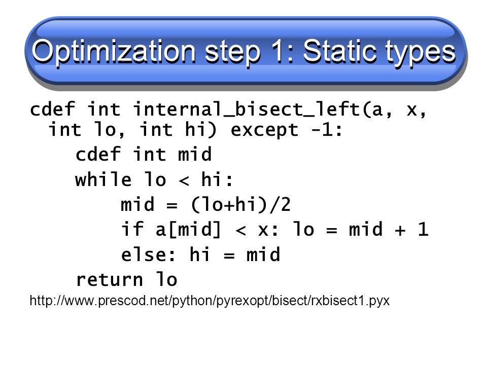 Optimization step 1: Static types cdef int internal_bisect_left(a, x, int lo, int hi) except -1: cdef int mid while lo < hi: mid = (lo+hi)/2 if a[mid] < x: lo = mid + 1 else: hi = mid return lo http://www.prescod.net/python/pyrexopt/bisect/rxbisect1.pyx