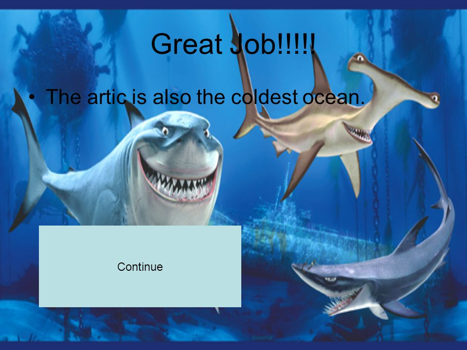 Great Job!!!!! The artic is also the coldest ocean. Continue