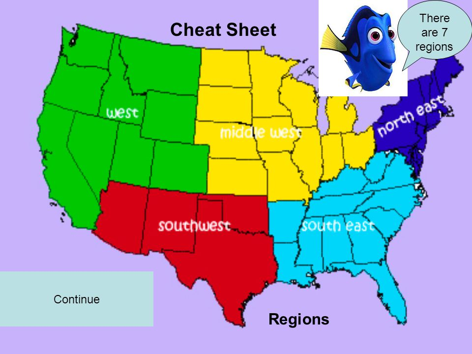 Cheat Sheet Continue There are 7 regions Regions