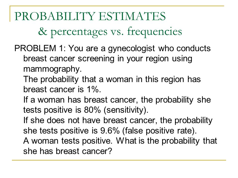 PROBABILITY ESTIMATES & percentages vs. frequencies PROBLEM 1: You are a gynecologist who conducts breast cancer screening in your region using mammog