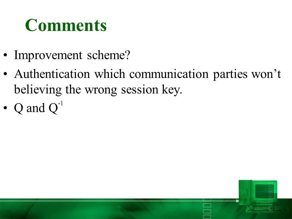 Comments Improvement scheme.