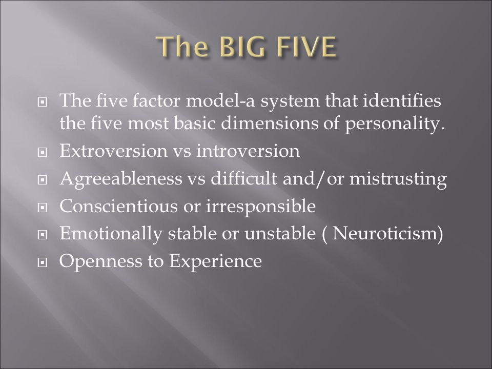  The five factor model-a system that identifies the five most basic dimensions of personality.
