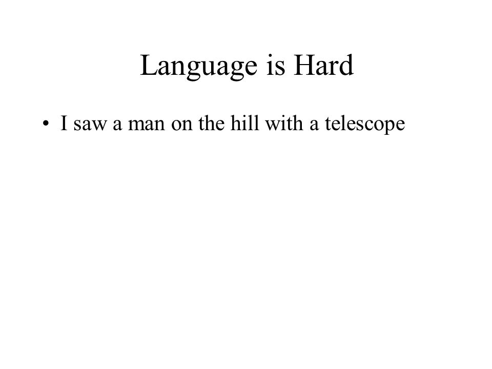 Language is Hard I saw a man on the hill with a telescope