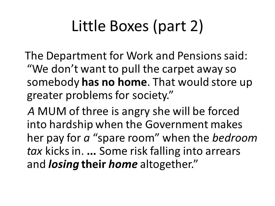 Little Boxes (part 2) The Department for Work and Pensions said: We don't want to pull the carpet away so somebody has no home.