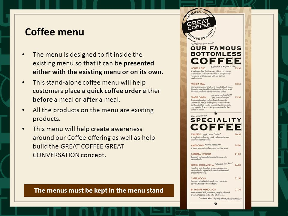 The menu is designed to fit inside the existing menu so that it can be presented either with the existing menu or on its own.