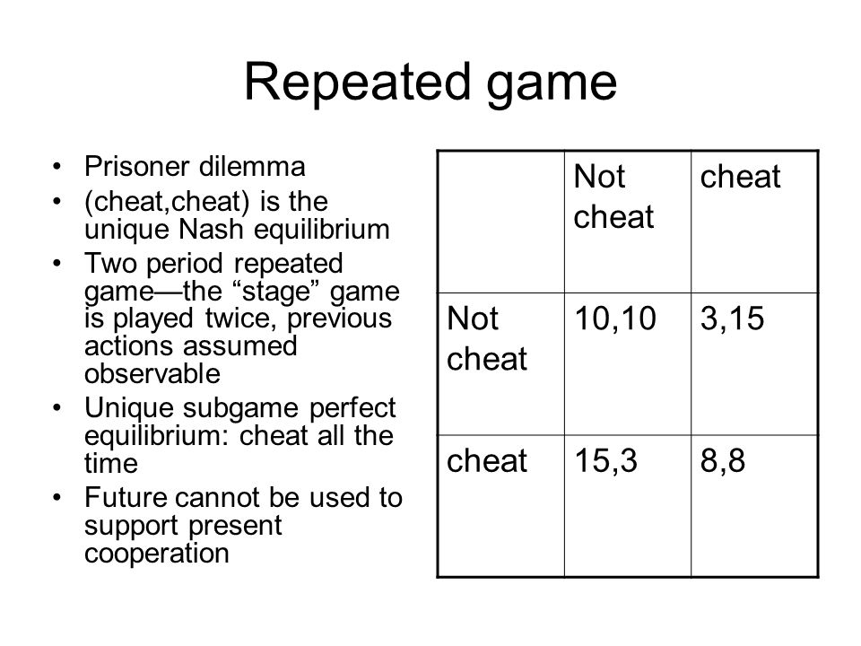"""Repeated game Prisoner dilemma (cheat,cheat) is the unique Nash equilibrium Two period repeated game—the """"stage"""" game is played twice, previous action"""