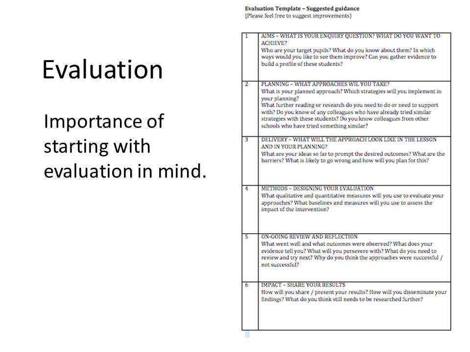 Evaluation Importance of starting with evaluation in mind.