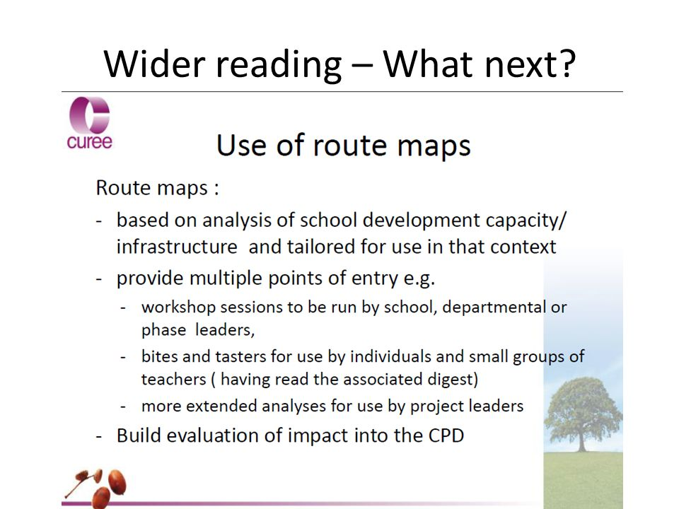 Wider reading – What next?