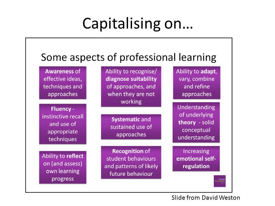 Capitalising on… Slide from David Weston