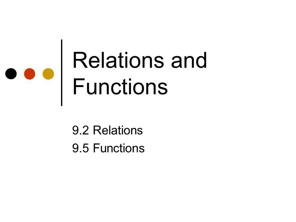 Relations and Functions 9.2 Relations 9.5 Functions