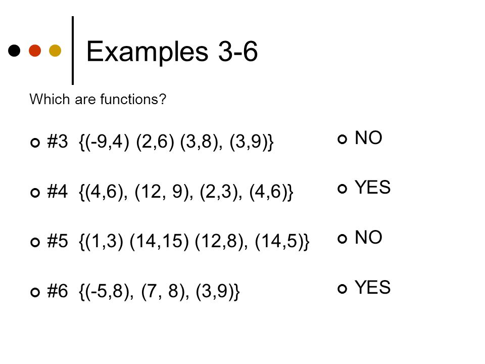 Examples 3-6 Which are functions.
