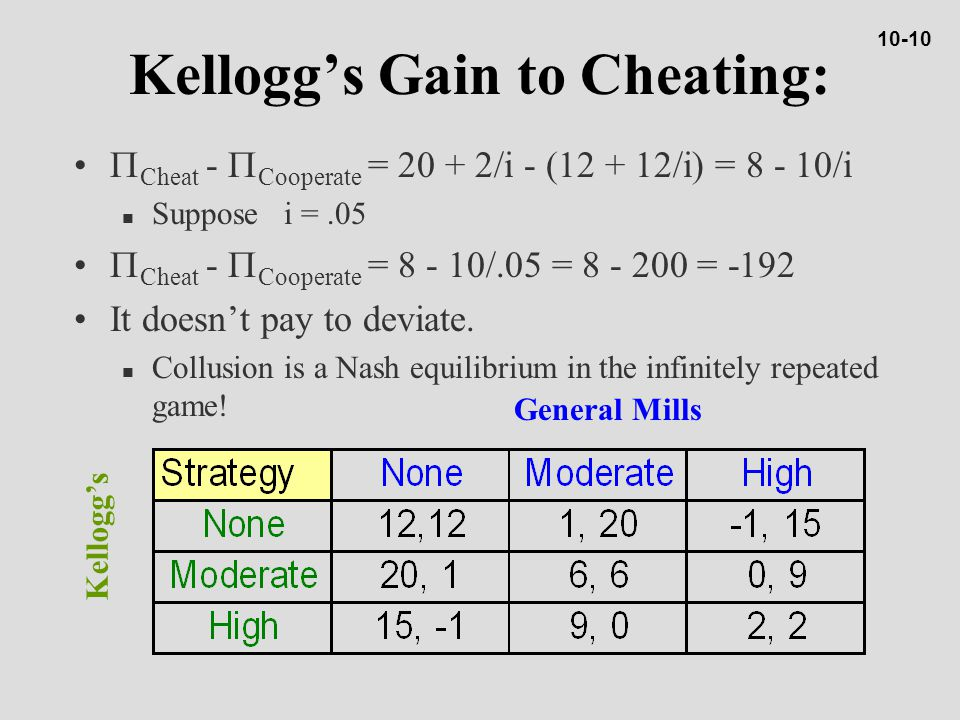 Kellogg's Gain to Cheating:  Cheat -  Cooperate = 20 + 2/i - (12 + 12/i) = 8 - 10/i n Suppose i =.05  Cheat -  Cooperate = 8 - 10/.05 = 8 - 200 = -192 It doesn't pay to deviate.
