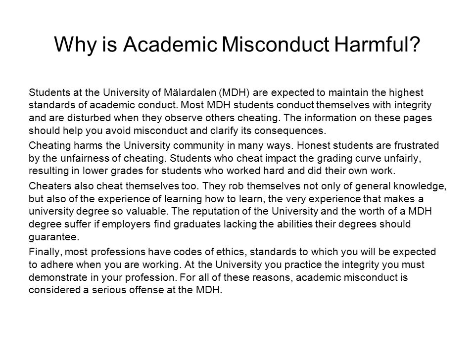 Why is Academic Misconduct Harmful.