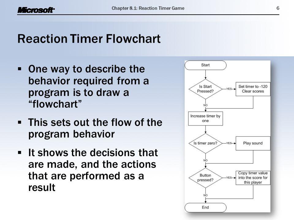 "Reaction Timer Flowchart  One way to describe the behavior required from a program is to draw a ""flowchart""  This sets out the flow of the program b"