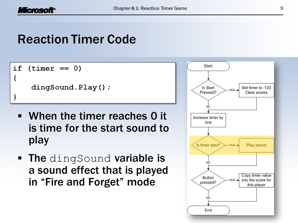 "Reaction Timer Code  When the timer reaches 0 it is time for the start sound to play  The dingSound variable is a sound effect that is played in ""Fi"
