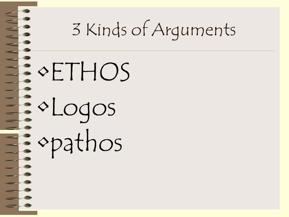 3 Kinds of Arguments ETHOS Logos pathos