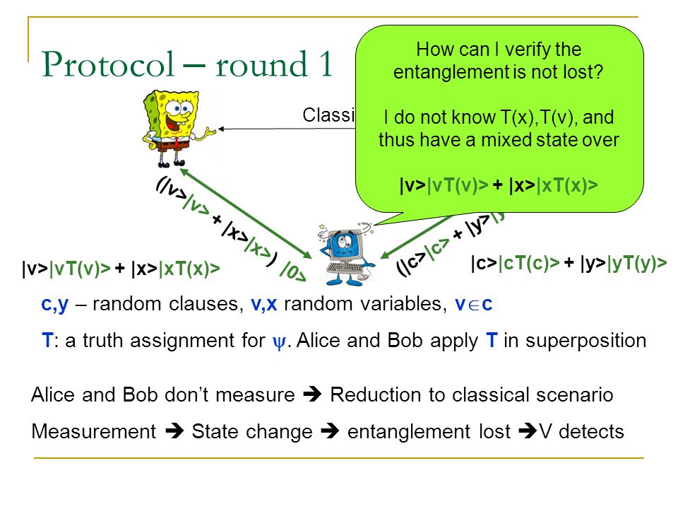 Protocol – round 1 Classical c,y – random clauses, v,x random variables, v  c T: a truth assignment for .