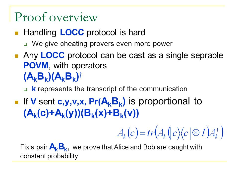Proof overview Handling LOCC protocol is hard  We give cheating provers even more power Any LOCC protocol can be cast as a single seprable POVM, with operators (A k ­ B k )(A k ­ B k ) y  k represents the transcript of the communication If V sent c,y,v,x, Pr( A k ­ B k ) is proportional to (A k (c)+A k (y))(B k (x)+B k (v)) Fix a pair A k ­ B k, we prove that Alice and Bob are caught with constant probability