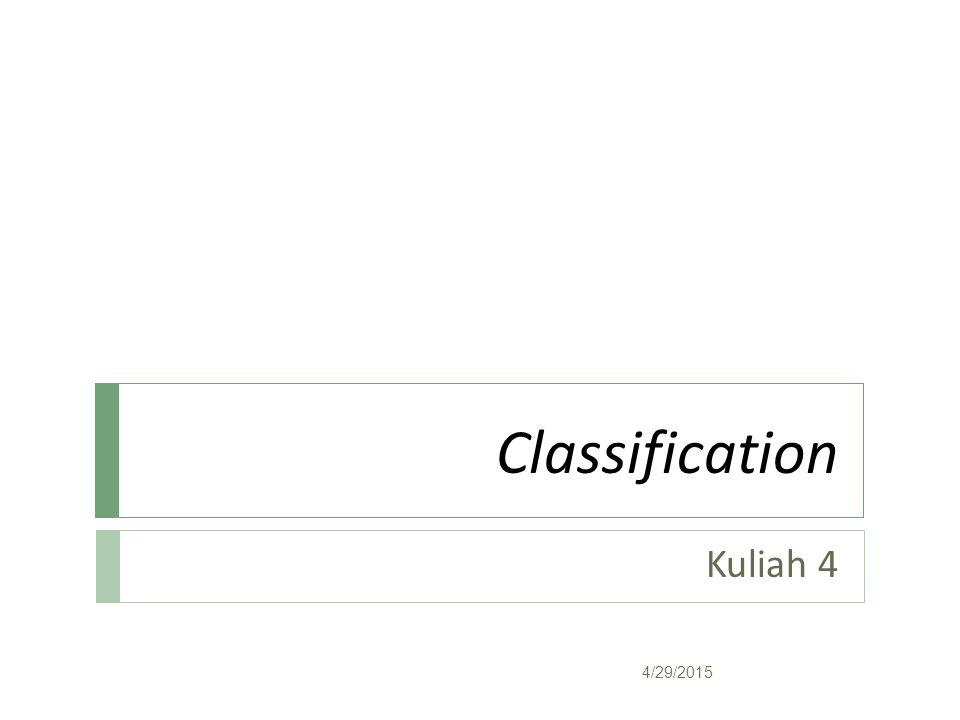 Akurasi  Akurasi dihitung berdasarkan jumlah nilai yang sama antara nilai dalam test set dengan nilai yang dihasilkan oleh pohon dengan menggunakan keseluruhan aturan yang terbentuk: Setiap entri f ij menyatakan banyaknya record dari kelas i yang diprediksi menjadi kelas j 4/29/2015