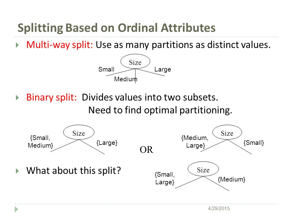  Multi-way split: Use as many partitions as distinct values.