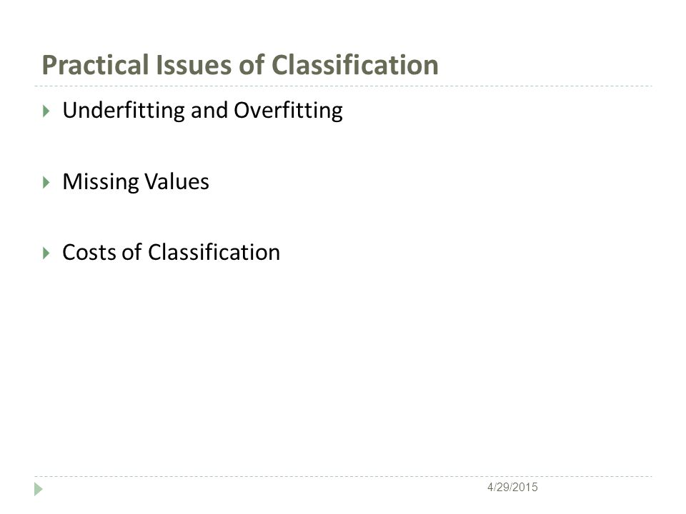 Practical Issues of Classification  Underfitting and Overfitting  Missing Values  Costs of Classification 4/29/2015
